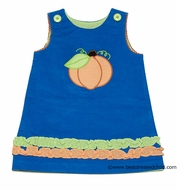 LeZaMe Kids Girls REVERSIBLE Turquoise Corduroy Jumper Dress - Pumpkin Reverses to Kite on Green