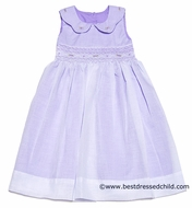 LeZaMe Kids Girls Sleeveless Smocked Bodice Dress with Collar and Overlay - Lavender