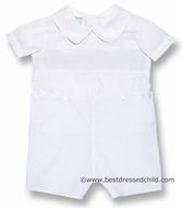 LeZaMe Kids Infant / Toddler Boys Dressy White Smocked Button On Shorts Suit