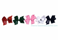 Little Girls Large Grosgrain Hair Bows - Personalized with Embroidery Letter Initial Monogram