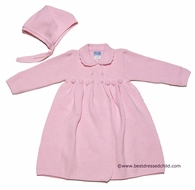 Luli and Me Baby / Toddler Girls Sweater Coat with Bonnet - PINK