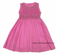 Luli and Me Girls Gorgeous Peony Hot Pink Organdy Smocked Sleeveless Dress