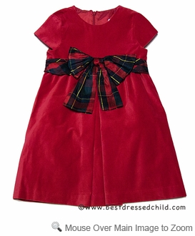 Luli And Me Girls Red Velvet Christmas Dress With Holiday