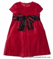 Luli and Me Girls Red Velvet Christmas Dress with Holiday Plaid Bow Sash