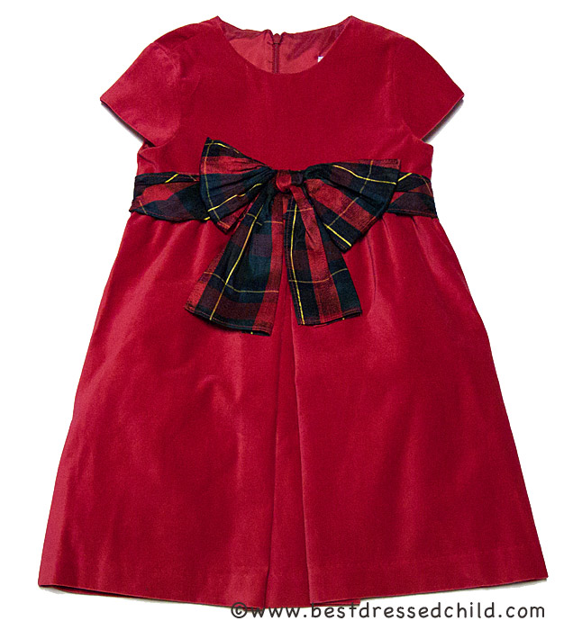 Luli and me girls red velvet christmas dress with holiday plaid bow