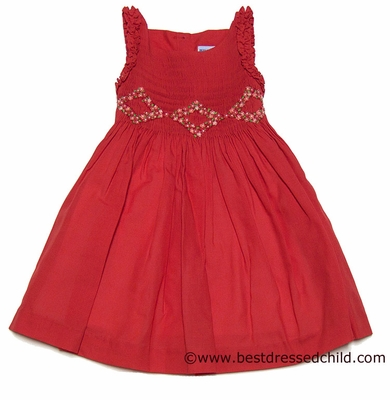 Luli And Me Girls Special Cerise Red Smocked Sleeveless Dress
