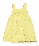 Luli and Me Girls Strappy Yellow Linen Blend Easter Dress with Flowers Detail