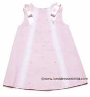Luli and Me Infant / Toddler Girls Sleeveless Pink Pique Dress with White Lace and Satin Bows