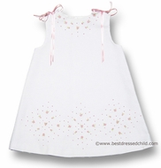 Luli and Me Infant / Toddler Girls White Pique A-Line Dress with Pink Embroidery and Ribbons