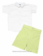 Luli / Frankie Boys Spring Green Check Dress Shorts with White Linen Blend Shirt
