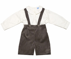 Luli & Me Baby / Toddler Boys Brown Corduroy Suspender Shorts Outfit with Shirt