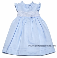 Luli & Me Baby / Toddler Girls Blue Linen Blend Easter Dress with Sash