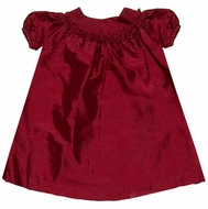 Luli & Me Baby / Toddler Girls Silk Float Dress with Ruffled Neck - Christmas Red