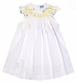 Luli & Me Baby / Toddler Girls White Angel Sleeve Dress - Smocked in Yellow with Ribbons