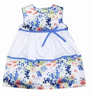Luli & Me Baby / Toddler Girls White / Blue Floral Easter Dress