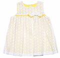 Luli & Me Baby / Toddler Girls White Lace Float Dress with Yellow Underlay