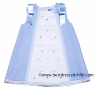 Luli & Me Girls Blue / White Pique A-Line Dress with Satin Bows