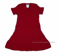 Luli & Me Girls Christmas Red Cable Knit Sweater Dresses