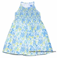 Luli & Me Girls Gorgeous Blue Watercolor Floral Smocked Easter Dress - Sleeveless