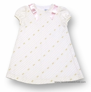 Luli & Me Girls Ivory A-Line Dress with Diagonal Pleats - Embroidery and Pink Bows