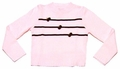 Luli & Me Girls Pink Sweater with Brown Trim and Bows