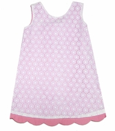 Luli & Me Girls Pink / White Eyelet Overlay A-Line Dress - Bow on Sizes 4 - 6X