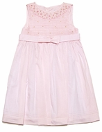 Luli & Me Girls Smocked Light Pink Organdy Dress with Bow