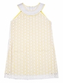 Luli & Me Girls White Lace Sheath Dress with Yellow Underlay