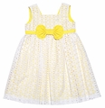 Luli & Me Girls White Lace Sleeveless Dress with Yellow Underlay and Bow