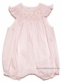 Luli & Me Infant Baby Girls Smocked Batiste Bubble with Flutter Sleeves - PINK