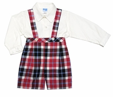 Luli & Me Infant / Toddler Boys Red / Black Plaid Suspender Shorts Outfit with Shirt
