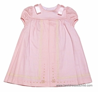 Luli & Me Infant / Toddler Girls PINK Dress with Lace & Embroidery Trim - Satin Bows on Shoulders