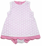 Luli & Me Infant / Toddler Girls Pink / White Eyelet Overlay Dress with Bloomers