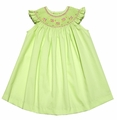 Luli & Me Infant / Toddler Girls Pistachio Green Pique Smocked Bishop Dress - Flutter Sleeves
