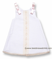 Luli & Me Infant / Toddler Girls White Pique Sleeveless Dress with Pink Trim and Ribbons on Shoulders