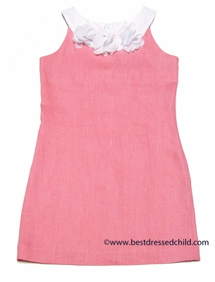 Maggie Breen by Funtasia Girls Blush Pink Sleeveless Linen Dress with White Flowers Neckline