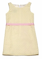 Maggie Breen by Funtasia Girls Sleeveless Yellow Eyelet Dress with Pink Ribbon
