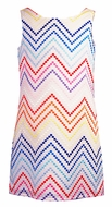 Maggie Breen by Funtasia Girls White Sleeveless Dress with Colorful Chevron Embroidery