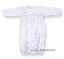 Magnolia Baby Blessed Baby Infant Boys Embroidery Cross Gown - White with Blue Cross / Dots