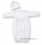 Magnolia Baby Blessed Baby Infant Boys / Girls Embroidery Christening Cross Gown with Hat - White on White