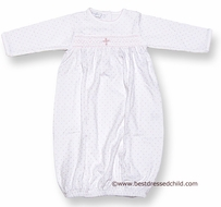 Magnolia Baby Blessed Baby Infant Girls Gown with Embroidered Cross - WHITE with Pink Dots