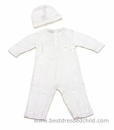 Magnolia Baby Boys / Girls Sweater Knit Christening Cross Romper with Hat - WHITE - LONG Sleeves