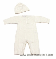 Magnolia Baby Girls / Boys Sweater Knit Christening Cross Romper with Hat - IVORY