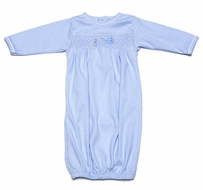 Magnolia Baby Infant Boys Worth the Wait Stork - Smocked Gown - Blue