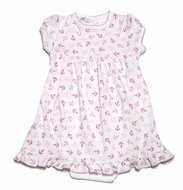 Magnolia Baby Infant Girls Anchors Away Print Baby Doll Dress with Bloomers - Pink