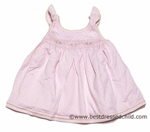 Magnolia Baby Infant Girls Ava Classic Pink / Green Dots Smocked Dress with Bloomers