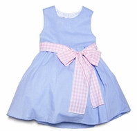 Malley Too Girls Blue Checks Sleeveless Easter Dress with Pink Check Sash