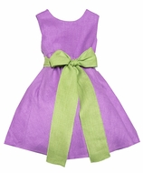 Malley Too Girls Sleeveless Lilac Purple Linen Easter Dress with Lime Green Sash - Tie in Front or Back