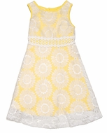 Mallory May by Peaches 'n Cream Girls Yellow Daisy Overlay Skater Dress