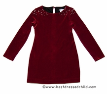 Maria Casero by Luli & Me Girls Garnet Red Stretch Velvet Christmas Dress with Pearls